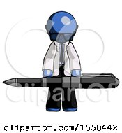 Blue Doctor Scientist Man Weightlifting A Giant Pen