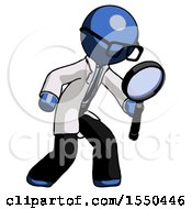 Blue Doctor Scientist Man Inspecting With Large Magnifying Glass Right