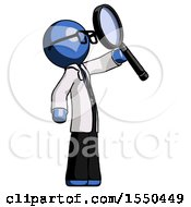 Blue Doctor Scientist Man Inspecting With Large Magnifying Glass Facing Up