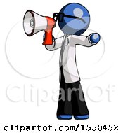 Blue Doctor Scientist Man Shouting Into Megaphone Bullhorn Facing Left