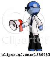 Blue Doctor Scientist Man Holding Megaphone Bullhorn Facing Right