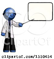 Blue Doctor Scientist Man Giving Presentation In Front Of Dry Erase Board