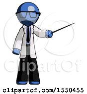 Blue Doctor Scientist Man Teacher Or Conductor With Stick Or Baton Directing