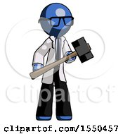 Blue Doctor Scientist Man With Sledgehammer Standing Ready To Work Or Defend