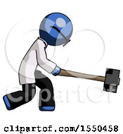Blue Doctor Scientist Man Hitting With Sledgehammer Or Smashing Something