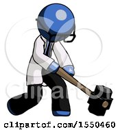 Blue Doctor Scientist Man Hitting With Sledgehammer Or Smashing Something At Angle
