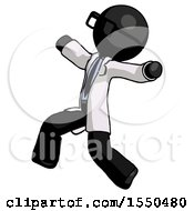 Black Doctor Scientist Man Running Away In Hysterical Panic Direction Left