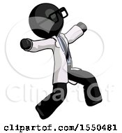 Black Doctor Scientist Man Running Away In Hysterical Panic Direction Right
