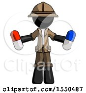 Black Explorer Ranger Man Holding A Red Pill And Blue Pill