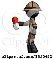 Black Explorer Ranger Man Holding Red Pill Walking To Left