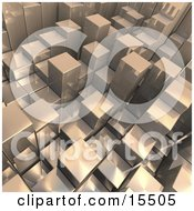 Chrome Abstract Background With Cubes Resembling Skyscrapers Some Standing Taller Than Others Clipart Illustration Image