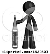 Black Design Mascot Woman Standing With Large Thermometer