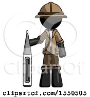 Black Explorer Ranger Man Standing With Large Thermometer