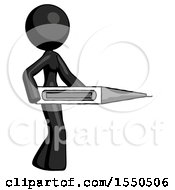 Black Design Mascot Woman Walking With Large Thermometer