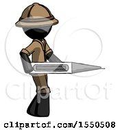 Black Explorer Ranger Man Walking With Large Thermometer