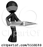 Black Design Mascot Man Walking With Large Thermometer