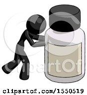 Black Design Mascot Woman Pushing Large Medicine Bottle