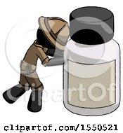 Black Explorer Ranger Man Pushing Large Medicine Bottle