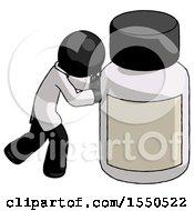 Black Doctor Scientist Man Pushing Large Medicine Bottle