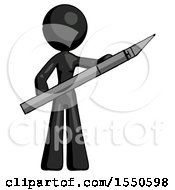 Black Design Mascot Woman Holding Large Scalpel