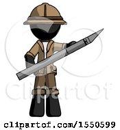 Black Explorer Ranger Man Holding Large Scalpel