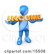 Blue Person Holding An Orange Income Sign