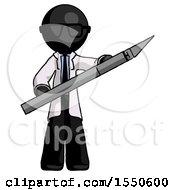 Black Doctor Scientist Man Holding Large Scalpel