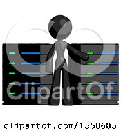 Black Design Mascot Woman With Server Racks In Front Of Two Networked Systems