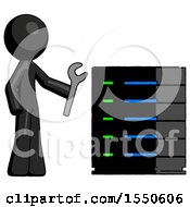 Black Design Mascot Man Server Administrator Doing Repairs