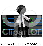 Black Doctor Scientist Man With Server Racks In Front Of Two Networked Systems