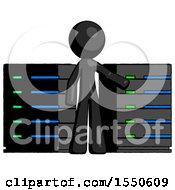 Black Design Mascot Man With Server Racks In Front Of Two Networked Systems