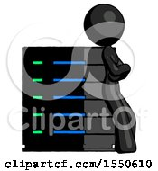 Black Design Mascot Woman Resting Against Server Rack Viewed At Angle