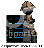 Black Explorer Ranger Man Resting Against Server Rack Viewed At Angle