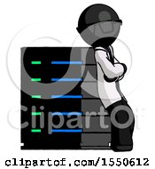 Black Doctor Scientist Man Resting Against Server Rack Viewed At Angle