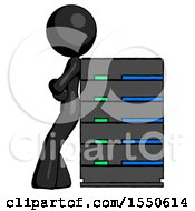 Black Design Mascot Woman Resting Against Server Rack