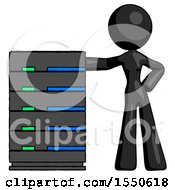 Black Design Mascot Woman With Server Rack Leaning Confidently Against It