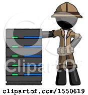 Black Explorer Ranger Man With Server Rack Leaning Confidently Against It