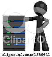Black Design Mascot Man With Server Rack Leaning Confidently Against It