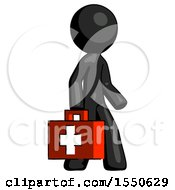 Black Design Mascot Man Walking With Medical Aid Briefcase To Right