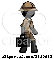 Black Explorer Ranger Man Walking With Briefcase To The Right