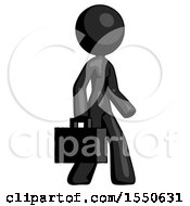 Black Design Mascot Woman Walking With Briefcase To The Right