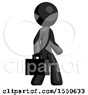 Black Design Mascot Man Walking With Briefcase To The Right