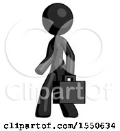 Black Design Mascot Woman Man Walking With Briefcase To The Left