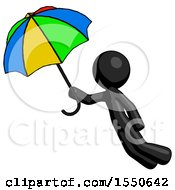 Black Design Mascot Man Flying With Rainbow Colored Umbrella