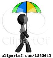 Black Design Mascot Woman Walking With Colored Umbrella
