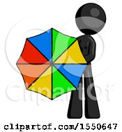 Black Design Mascot Woman Holding Rainbow Umbrella Out To Viewer