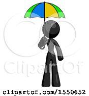 Black Design Mascot Woman Holding Umbrella Rainbow Colored