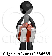 Black Design Mascot Woman Gifting Present With Large Bow Front View