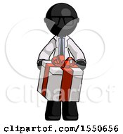Black Doctor Scientist Man Gifting Present With Large Bow Front View