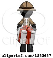 Black Explorer Ranger Man Gifting Present With Large Bow Front View